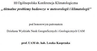 III Ogólnopolska Konferencja Klimatologiczna – program