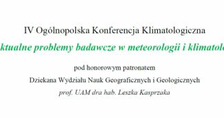 IV Ogólnopolska Konferencja Klimatologiczna – program