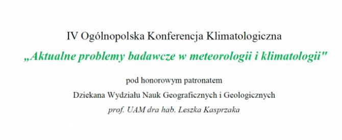 IV Ogólnopolska Konferencja Klimatologiczna 2018 – komunikat II