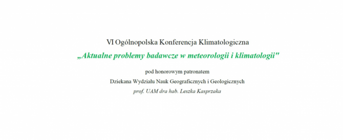 VI Ogólnopolska Konferencja Klimatologiczna 2020